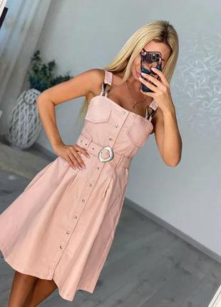 Кожаный стильный  сарафан платье миди с поясом в люкс качестве эко кожа
