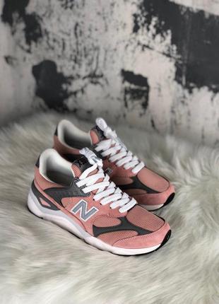 Кроссовки женские new balance x-90 pink grey white