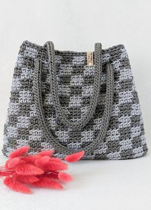 Женская вязаная сумка узором клетка ручная работа