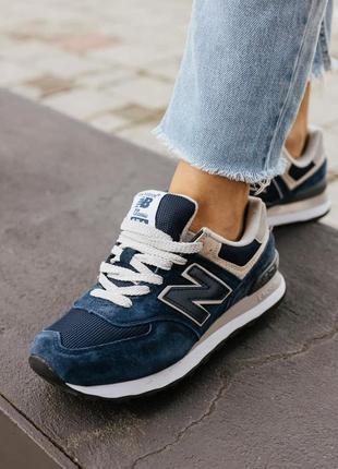 Женские кроссовки nb 574 blue демисезонные