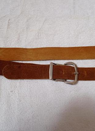 Немецкий винтажный коричневый кожанный ремень пасок пояс с рельефным узором бохо кэжуал этно