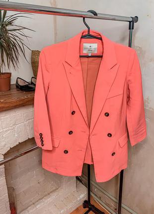 Коралловый пиджак , пиджак , женский пиджак