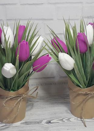 Мыльный букет тюльпаны бело-сиреневые