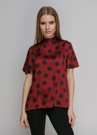Шелковая блуза в крупный горох zara с завязкой на спине