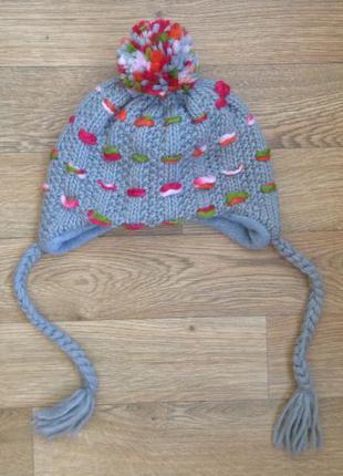 Теплая шапка с ушами косами и попоном / бубоном