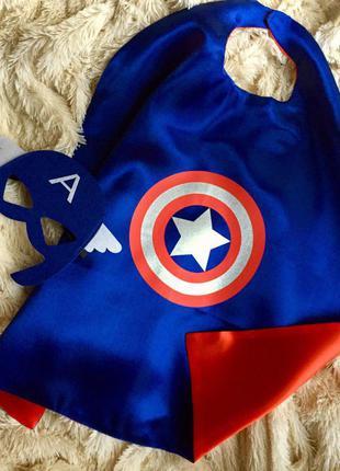 80-130см тематический плащ,костюм+маска.новый год,д.рождения,утренник.капитан америка