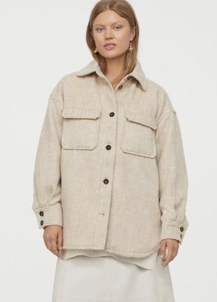 Шерстяная куртка рубашка пальто h&m осень 2021 🍂 xs-s