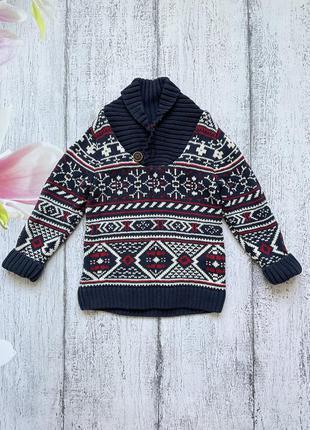 Крутая кофта свитер вязаный котон h&m 2-4года