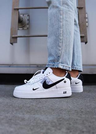 Шикарные женские кроссовки nike air force 1 white black utility