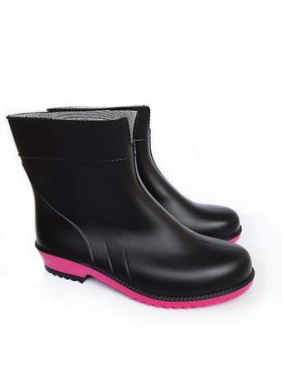 Женские черные резиновые сапоги резинові чоботи гумові 36-41