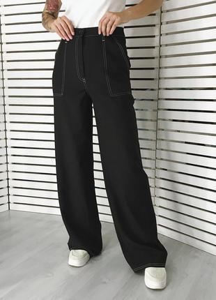 Новые широкие черные брюки черные палаццо
