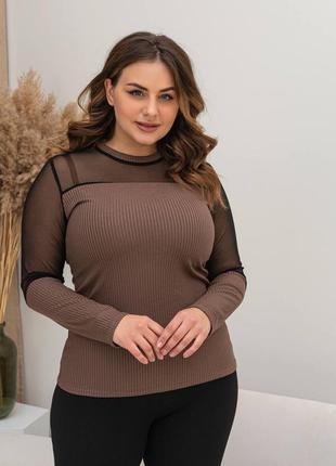 Нарядная блуза с сеткой батал