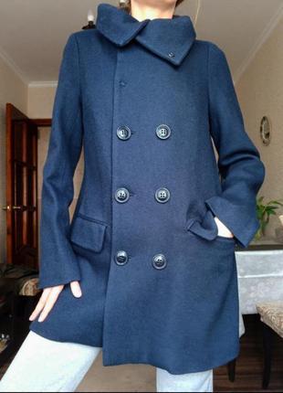 Пальто полупальто шерстяное синее