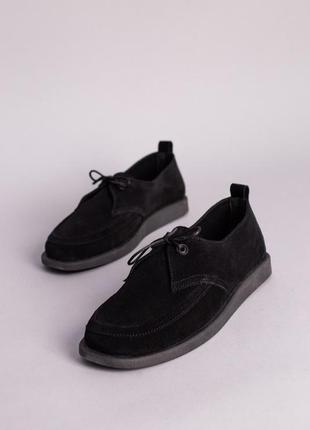 Мокасины женские замшевые черного цвета