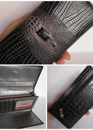 Кожаный кошелек с тиснением. натуральная кожа. графит.