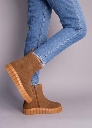 Ботинки женские замшевые рыжие зимние