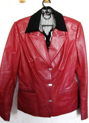 Куртка кожаная (красивый винный цвет)
