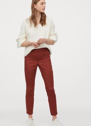 Укороченные брюки штаны слаксы с высокой эластичной талией терракотовый