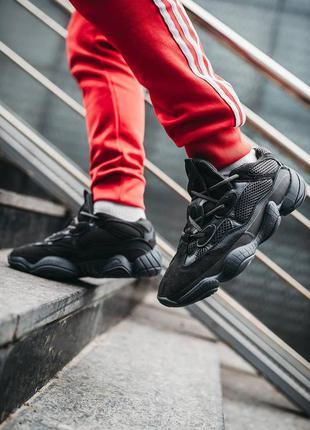 Шикарные кроссовки унисекс adidas yeezy 500 utility black наложка
