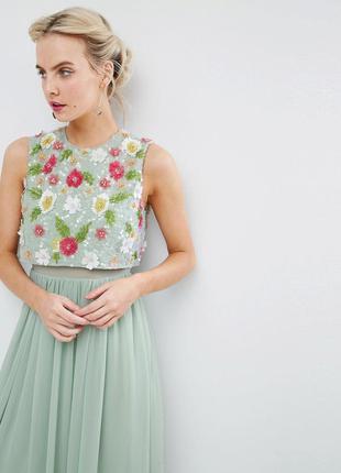 Asos petite роскошное мятное макси-платье цветы 3d