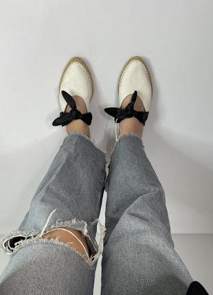Мюли шлепки туфли на низкой подошве zara из парусины с бантом