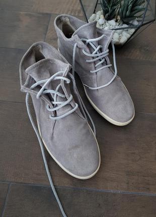Стильные натуральные замшевые кеды на шнурках