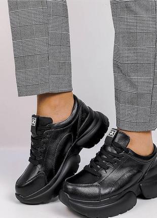 Лучшая цена 💥 💥 💥   кроссовки из натуральной чёрной кожи на объёмной подошве