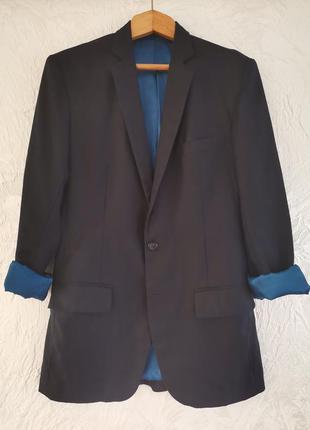 Длинный классический блейзер пиджак. 100%  шерсть.