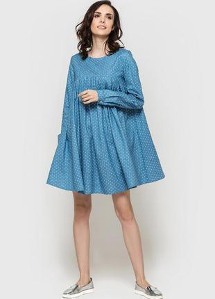 Джинсовое платье в горох / беременным/ свободное/ легкое/натуральное/оверсайз