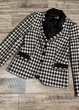 Шерстяной однобортный пиджак блейзер в клетку love moschino
