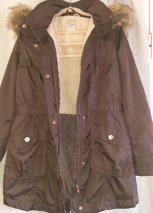 Женская осенняя демисезонная куртка, курточка парка с утеплением и опушкой. деми
