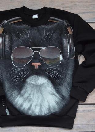 """✅мега крутой джемпер со светящимся в темноте рисунком """"кот в наушниках"""""""