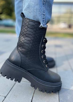 Ботинки  из натуральной кожи с тиснением питон 🐍