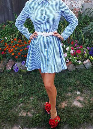 Платье рубашка с ассиметричной юбкой, полосатое сине-белое