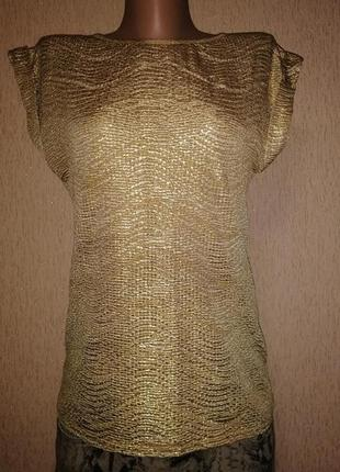 Красивая золотистая женская футболка, блузка made in france