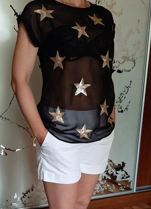 Крутая шифоновая блузка-футболка в звездах