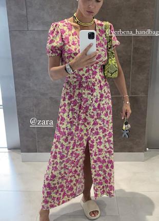Цветочное платье zara миди