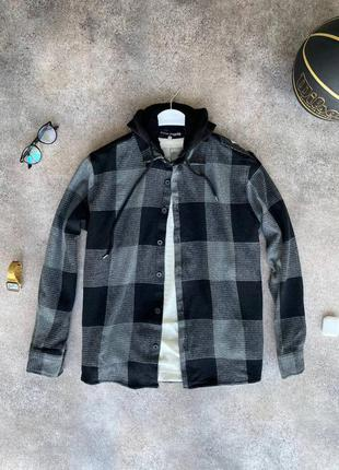 Теплая мужская рубашка с капюшоном куртка кофта