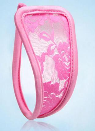 С-стринги кружевные трусики невидимки на каркасе, нежно розовые