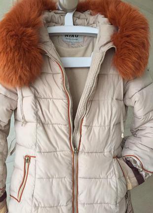 Зимнее пальто/ куртка/пуховик/kiko/ /натуральный мех/ размер s