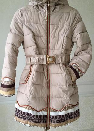 Зимнее пальто/ kiko/ натуральный мех/теплое/ размер s