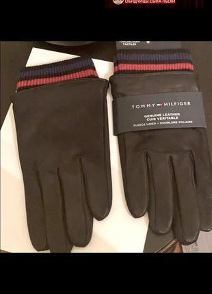 Перчатки кожаные  tommy hilfiger, оригинал l