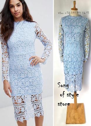 Boohoo кружевное платье миди со вставками