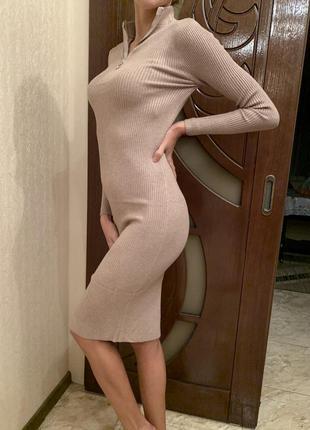 Сукня міді трикотажна базова, платье лапша, платье трикотажное по фигуре в рубчик, платье футляр миди