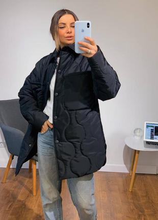 Стёганная куртка-рубашка, куртка оверсайз, 4 цвета