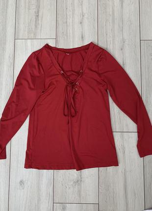 Красная/кофта/на шнуровке/с длинным рукавом