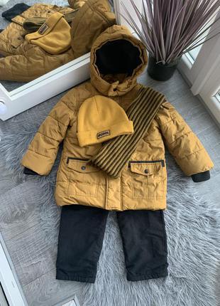 Куртка зимняя комплект шапка шар штаны