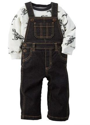 Комплект лонгслив, реглан, кофта и джинсовый комбинезон на 18м