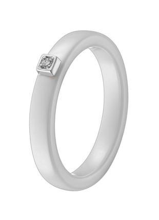 Кольцо керамика, белое золото, бриллиант. sova