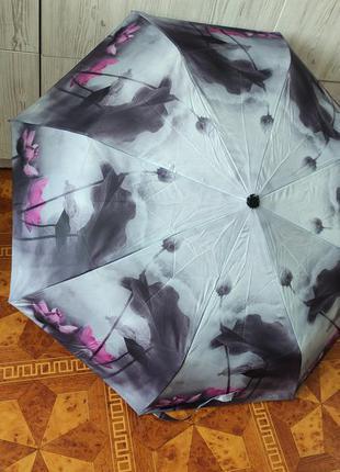 Стильный женский складной зонт полуавтомат silver rain 705-7, цветочный принт